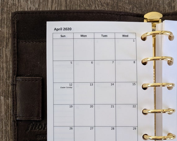 Pocket planner 2020 Sunday start monthly calendar refill