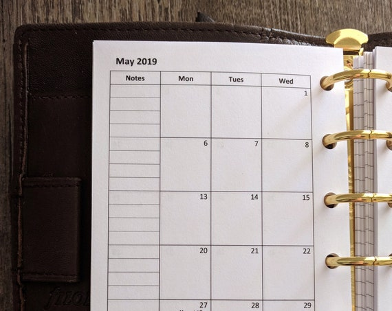 Pocket planner 2019 Monday start Monthly calendar refill printed insert