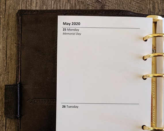 Personal planner 2020 Two-Days-on-a-Page calendar refill insert