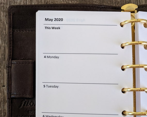 Pocket planner 2020 Week-on-Two-Pages calendar refill insert