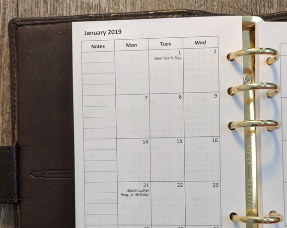 Personal planner 2019 Monday start monthly calendar refill  printed inserts