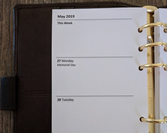 Personal organizer 2019 Week-on-Two-Pages planner calendar refill