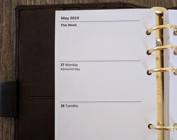Personal planner 2019 Week-on-Two-Pages calendar refill insert