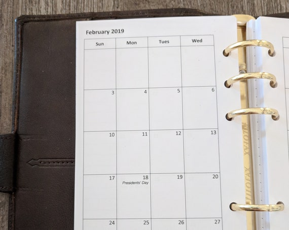 Personal planner 2019 SUNDAY start monthly planner calendar refill  printed inserts