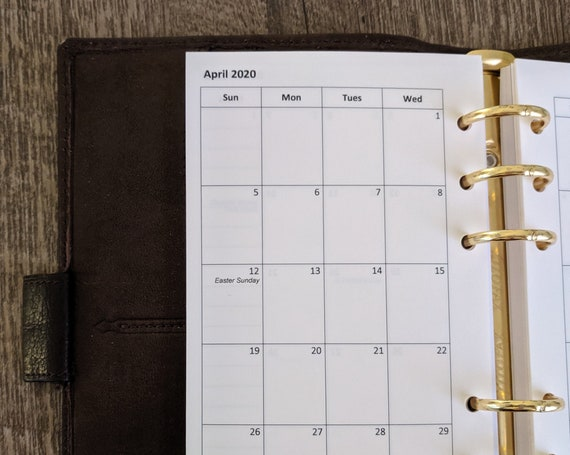 Personal planner 2020 SUNDAY start monthly planner calendar refill