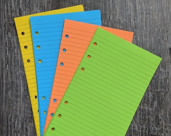 Personal planner 40 lined note sheets refill, brights combo printed inserts