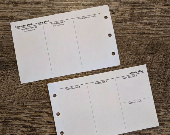 M2 size planner weekly planner refills - 2019 (Filofax M2 size) printed inserts