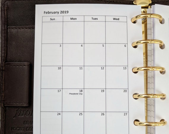 Pocket planner 2019 Sunday start monthly calendar refill printed insert