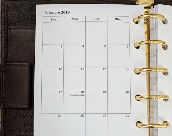 Pocket planner 2019 Sunday start monthly calendar refill