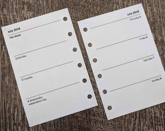 Pocket Academic July 2018-19 Week-on-Two-Pages planner calendar refill (Filofax Pocket size)
