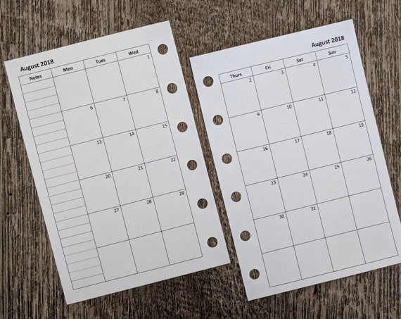 Pocket Academic July 2018-19 Monday start monthly planner calendar refill   printed