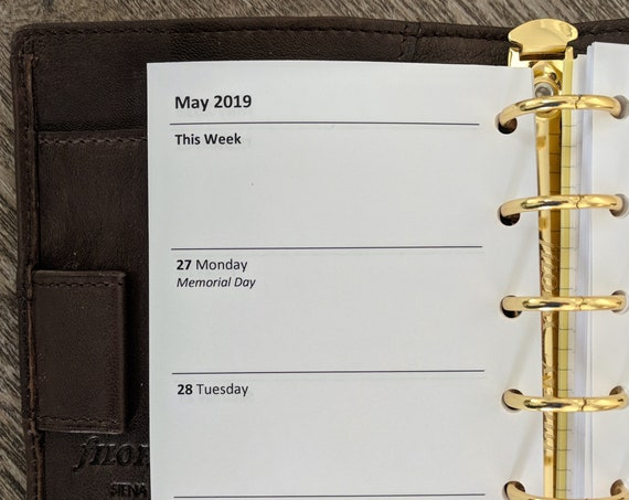 Pocket planner 2019 Week-on-Two-Pages calendar refill  printed insert