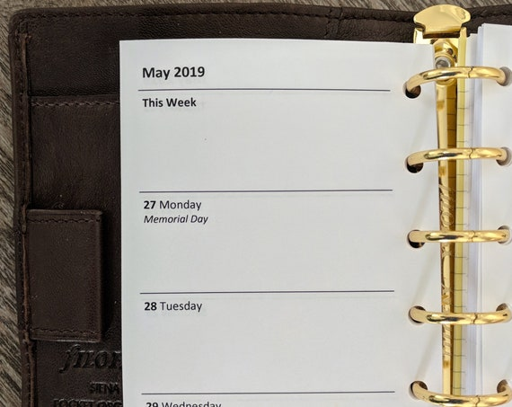 Pocket planner 2019 Week-on-Two-Pages calendar refill insert