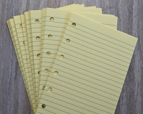 Pocket planner 40 lined note sheets refill, yellow  printed insert