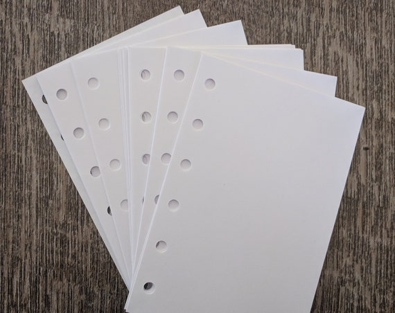 Pocket planner 40 plain note sheets refill, white paper insert