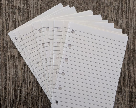Pocket planner 40 lined note sheets refill, white (Filofax Pocket size) printed insert