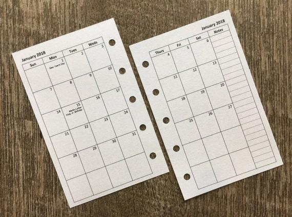 Mini organizer 2018 Sunday start monthly calendar planner refill (Filofax Mini size)