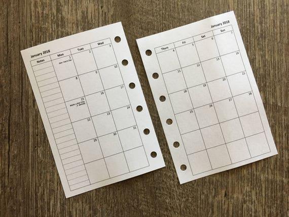 Pocket organizer 2018 Monday start monthly calendar planner refill (Filofax Pocket size)