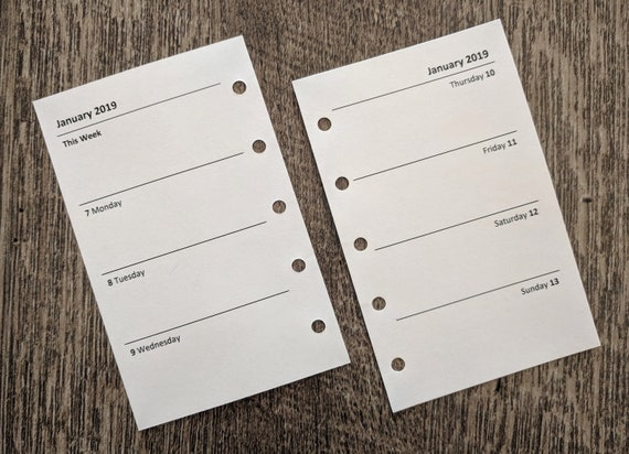 Mini organizer 2019 Week-on-Two-Pages planner calendar refill (Filofax Mini size)