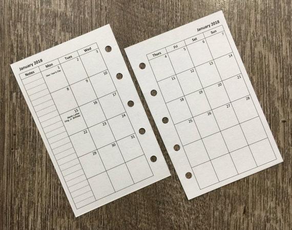 Mini organizer 2018 Monday start monthly calendar planner refill (Filofax Mini size)