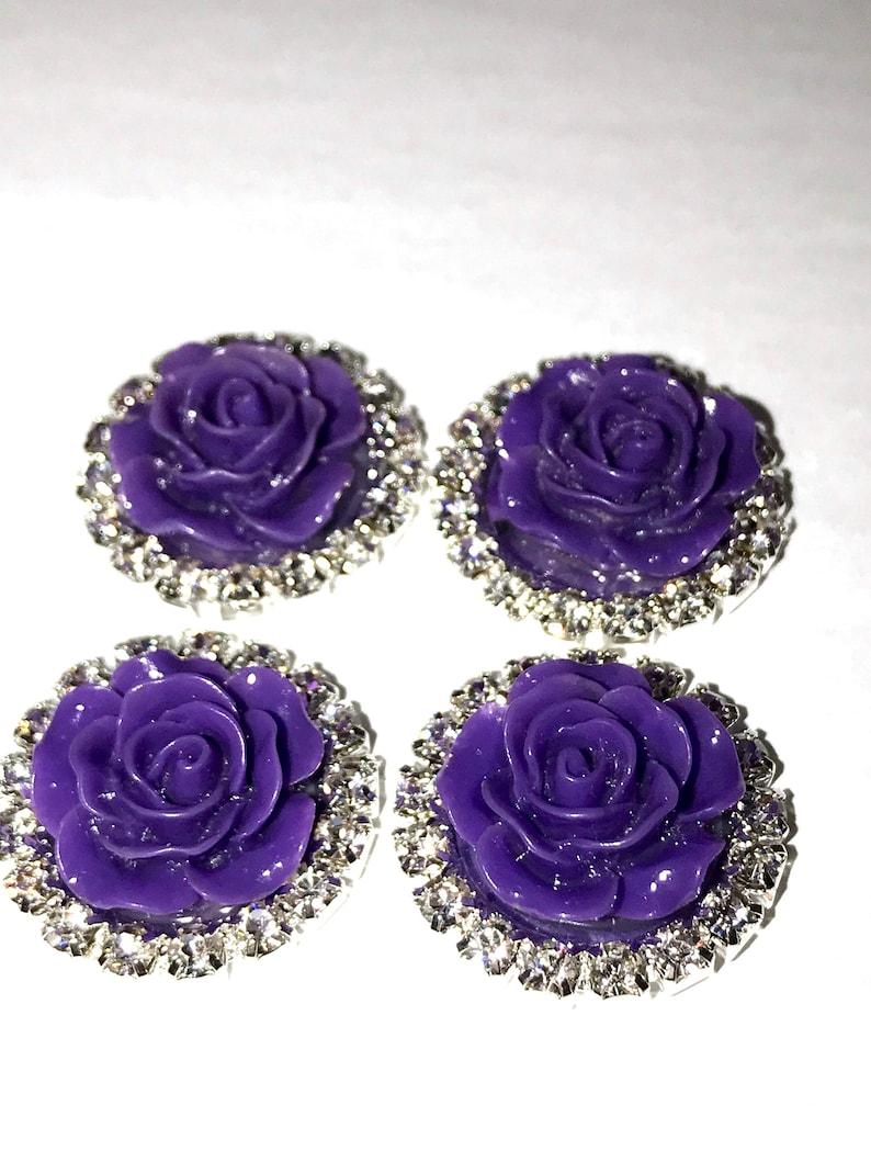 MajorCrafts® 3pcs Light Blue AB 42mm Flat Back Rhinestone Rose Flower Cabochons