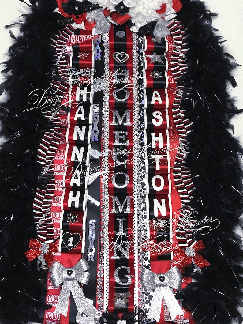 Double Homecoming Mum wRhinestone Monogram Sophomore Freshman Junior Senior Braids Loop Ribbons-Mega Double Homecoming Mum Deluxe Mum