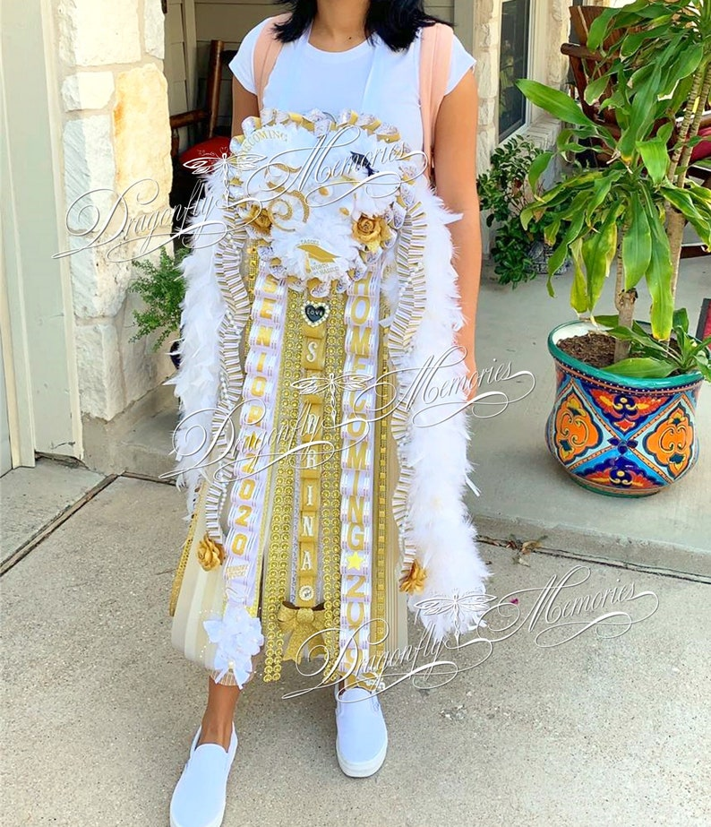 Senior Triple Homecoming Mum W Rhinestone Initial Gold Etsy
