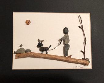 Dog Walking handcrafted Pebble Art