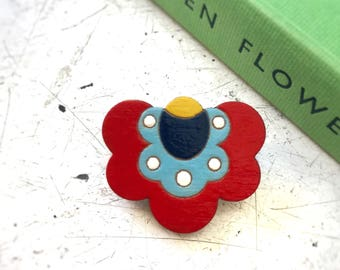 Polish Folk Flower Brooch, wooden laser cut (Red)