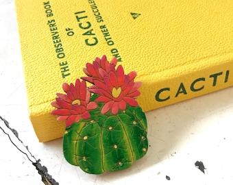Cactus Flower Brooch, wooden laser cut