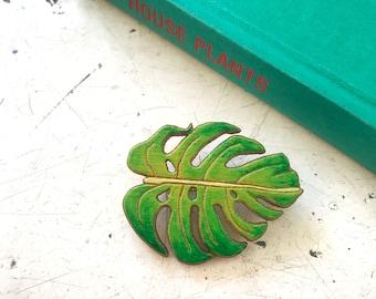 Monstera Leaf Brooch, wooden laser cut