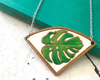 Philodendron Leaf Necklace, wooden laser cut