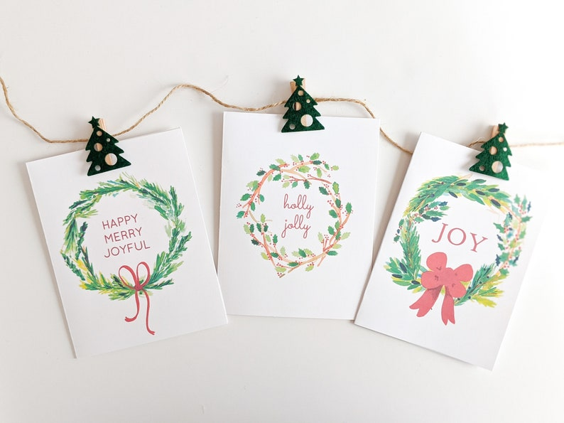 Watercolor Wreath Christmas Card Collection  Hand-Painted image 0