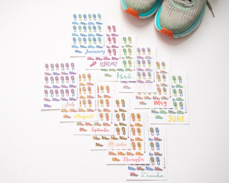 A Year of Running Stickers Running Calendar Stickers  image 0