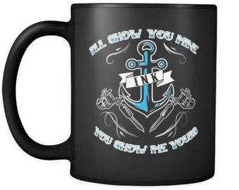 Funny Inked tatouage Mug je vais vous montrer mes amis Si vous Me montrer 11oz tasses à café noirs