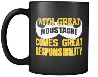 Funny Moustache Mug With Great Moustache Comes 11oz Black Coffee Mugs
