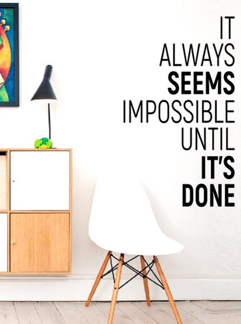 wall vinyl decals stickers DIY Art Decor Bedroom Quote Decal Fitness Exercise Gym wall decals It always seems impossible until it/'s done