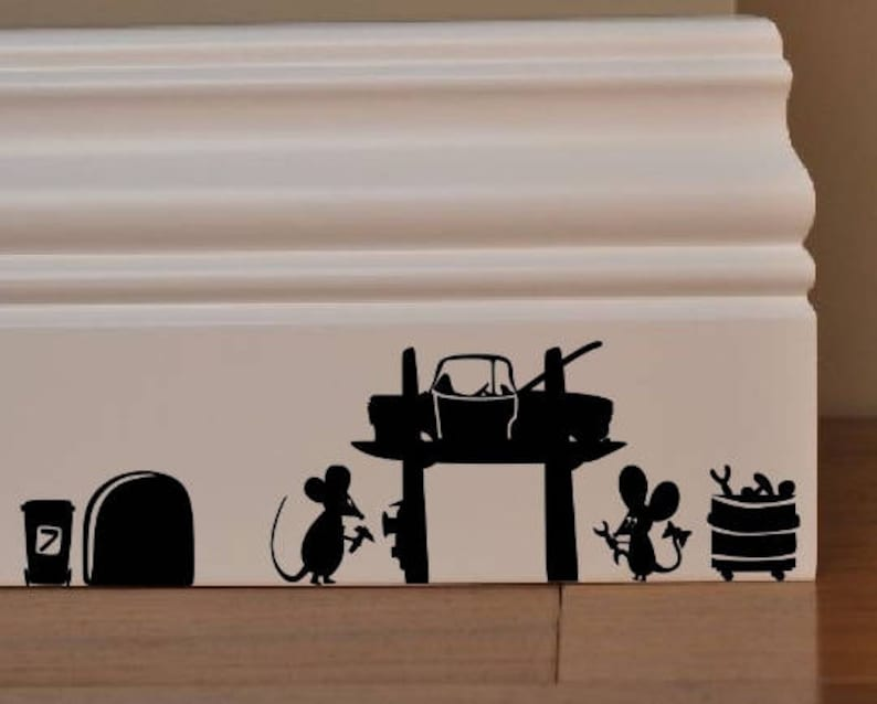 MOUSE Mechanics Car Tyres tools Mice Love Heart decor funny wall art decal stickers Baseboard Kids