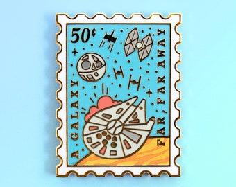A Galaxy Far, Far Away Enamel Pin - Galaxy Pin - Space Pin - Stamp Enamel Pin - Book Pins - Reading Enamel Pin - Fantasy Pin - Sci Fi Pins