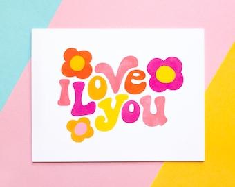 Anniversary Love card Valentines Card Love Marquee Card Retro Love card I Really Love you card
