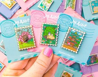 Mix & Match Set of 10 Stamp Pins - Bookish Pins - Book Pins - Cute Pins - Magical Pin - Magic Pin - Bookish Gift Book Pin - Cute Enamel Pins