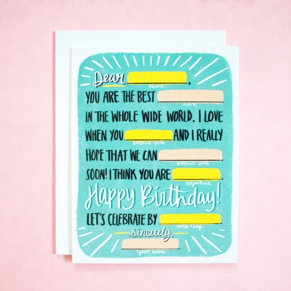 Mad Libs Birthday Card Customizable Funny
