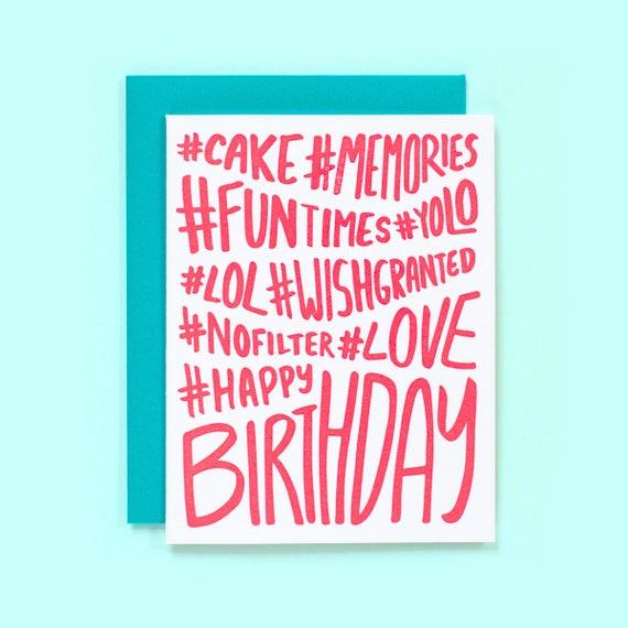 birthday hashtags Hashtag Birthday Card Hashtag Happy Birthday Fun Birthday | Etsy birthday hashtags