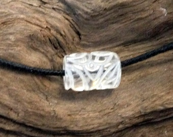 Hand Carved Quartz Rock Crystal Bead.Ancient Design.