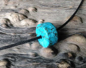Hand Carved Turquoise Bead.