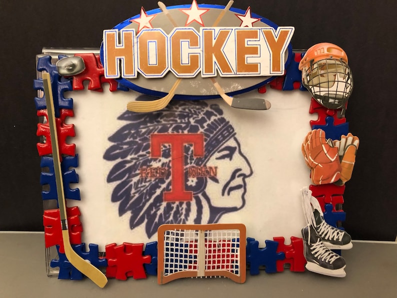 Hockey theme picture frame