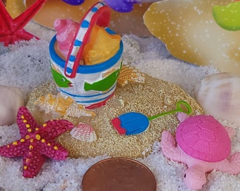 Time To Play In The Sand, Mermaid Garden, Fairy Garden, Dollhouse, Miniature, Pink Turtle, Fairy Pet, Mermaid Pet, Dand Pail, Red Starfish