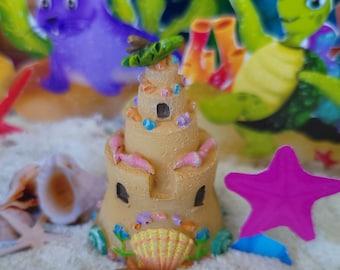 Adorable Seaside Sand Castles, Fairy Garden, Dollhouse, Miniatures, Brown, Shells, Paper Shells, Paper Pink Starfish, Beautiful Shells, Cute