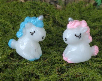4Pcs Pink/&Blue Resin Mini Unicorn Figurine for Fairy Garden Blue Crafts