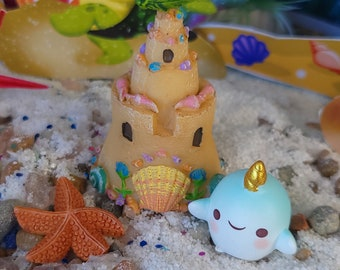 Mermaid Beach Sand Castle With Blue Baby Unicorn Whale, Starfish, Miniature, Dollhouse, Fairy Garden, Blue Whale, Shells, beach shells, cute
